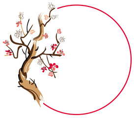 Round frame with ink-painted blooming plum-tree