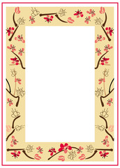 Frame with ink-painted blooming plum-tree