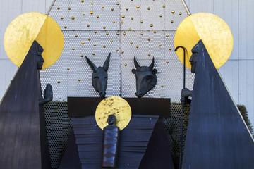 Nativity scene in the famous holy plaza of Fatima, Portugal.
