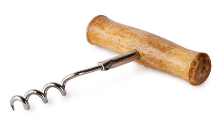 Corkscrew with wooden handle