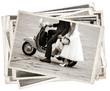 Leinwanddruck Bild - Vintage photos with newlywed