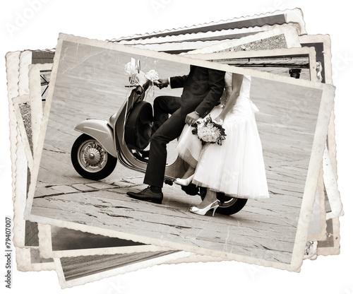 Leinwanddruck Bild Vintage photos with newlywed