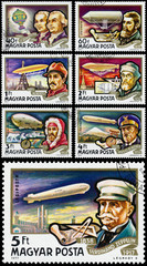 Stamp printed in Hungary shows History of Airships