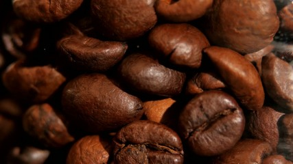 Lot of roasted coffee beans, rotation