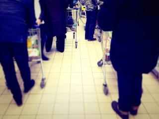 queue in supermarket