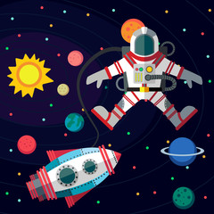 Outer space. Illustration in style flat