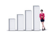 Businesswoman and profit bar chart - isolated