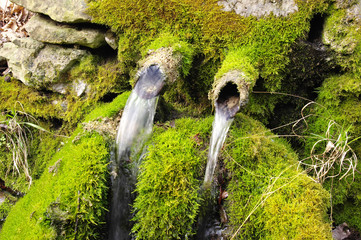 Old mossy stone fountain