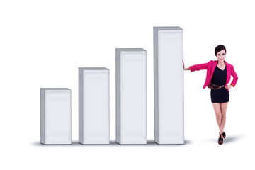 Businesswoman and bar chart - isolated