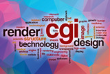 CGI word cloud with abstract background poster