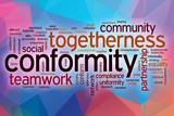 Conformity word cloud with abstract background poster