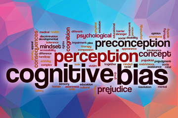 Cognitive bias word cloud with abstract background