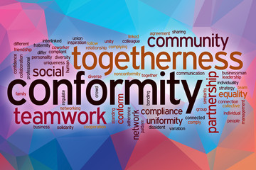 Conformity word cloud with abstract background