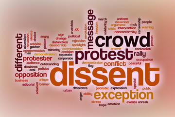 Dissent word cloud with abstract background