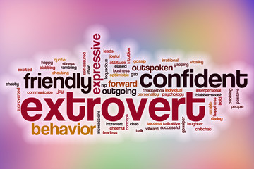 Extrovert word cloud with abstract background