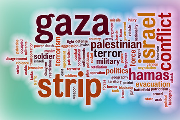 Gaza strip word cloud with abstract background