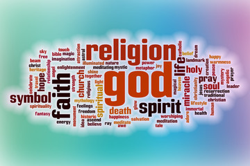 God word cloud with abstract background