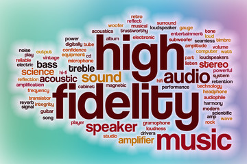 High fidelity word cloud with abstract background