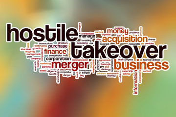 Hostile takeover word cloud with abstract background