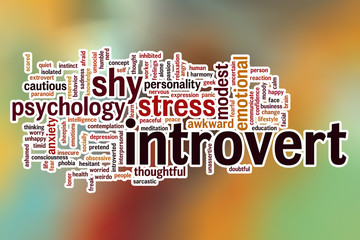 Introvert word cloud with abstract background