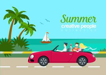 Summer travel couple cabrio car flat web infographic concept