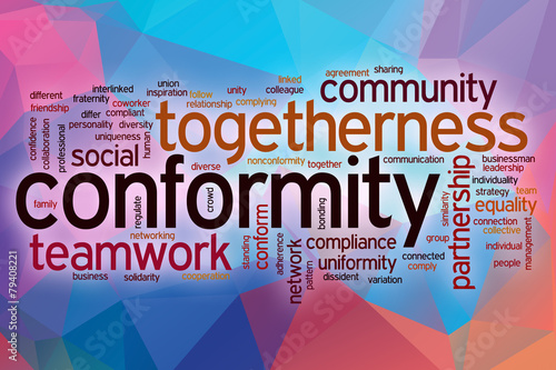 poster of Conformity word cloud with abstract background