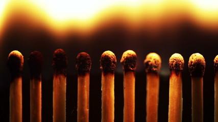 Chain reaction - lighting a row of matchsticks