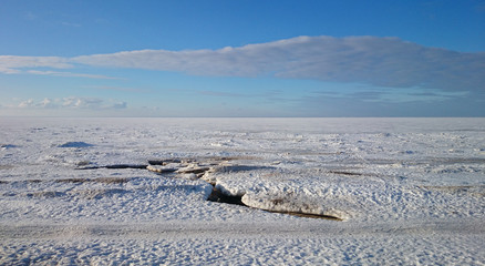 Bank of the White sea near Archangelsk city, Russia
