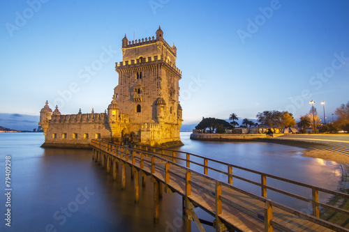Famous landmark, Tower of Belem, located in Lisbon, Portugal. - 79409298
