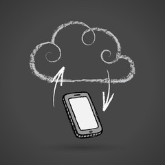 Cloud Computing Concept With Cellphone Vector Chalkboard Drawing