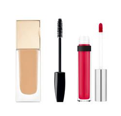 foundation, mascara, lipgloss isolated on white