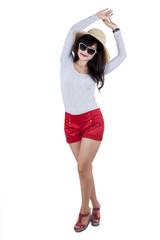 Sweet model with modern stylish hat