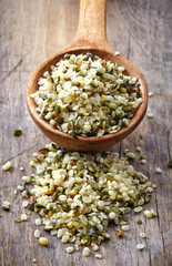 spoon of hemp seeds