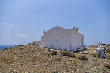 Chapel on top of a hill in Kythnos island, Greece
