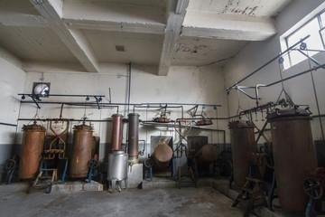 Old distillation tanks for aguardiente