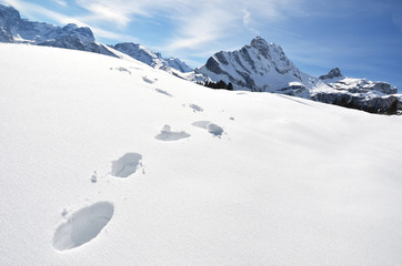 Footsteps on the snow. Swiss Alps