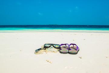 Sand beach and ocean wave, South Male Atoll. Maldives