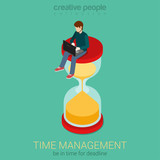 Time is money flat 3d web isometric infographic business concept