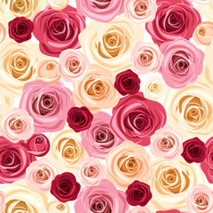 Seamless pattern with colorful roses. Vector illustration.