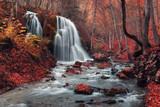 Fototapety Beautiful waterfall in autumn forest