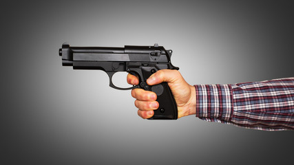 Automatic pistol handled with one hand