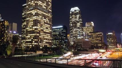 Los Angeles downtown skyline night timelapse no logo