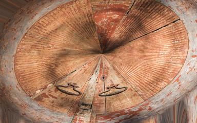 rounded ancient brown wooden door
