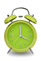 Green alarm clock with hands at 4 am or pm