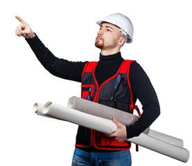 Builder holding blueprints and wallpaper
