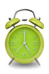 Green alarm clock with hands at 5 am or pm