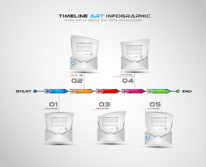 Timeline with Infographics design elements for brochures,