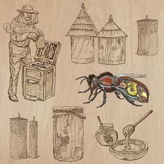 bees, beekeeping and honey - hand drawn vector pack 8