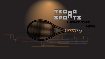 tennis racket and slogan