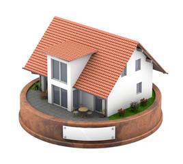 3D Haus auf Podest
